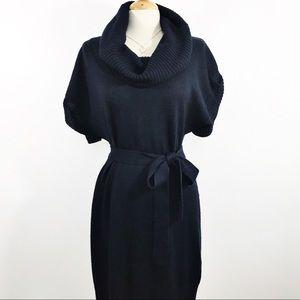 H&M elegant navy blue cowlneck tie waist dress